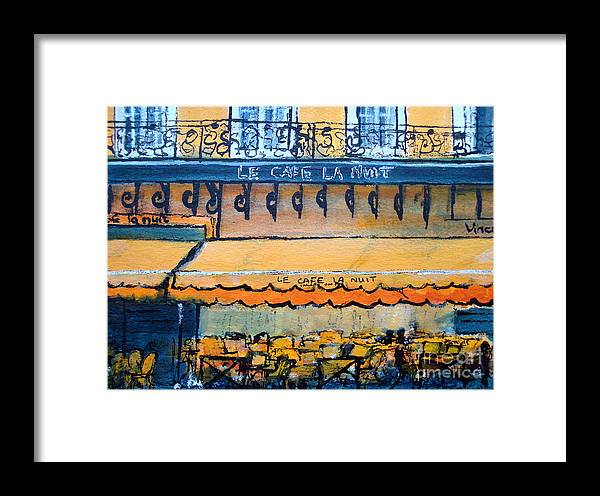 France Framed Print featuring the painting Le Cafe La Nuit Arles by Jackie Sherwood