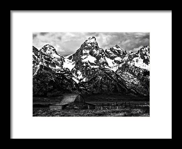 Grand Tetons Framed Print featuring the photograph Le Grande Teton And Barn by Patrick Derickson