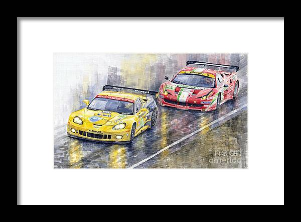 Watercolor Framed Print featuring the painting 2011 Le Mans GTE Pro Chevrolette Corvette C6R vs Ferrari 458 Italia by Yuriy Shevchuk