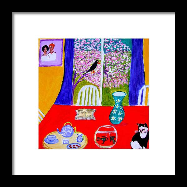 Cats Framed Print featuring the painting Le Poisson Rouge by Rusty Gladdish