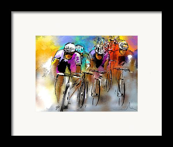 Sports Framed Print featuring the painting Le Tour De France 03 by Miki De Goodaboom