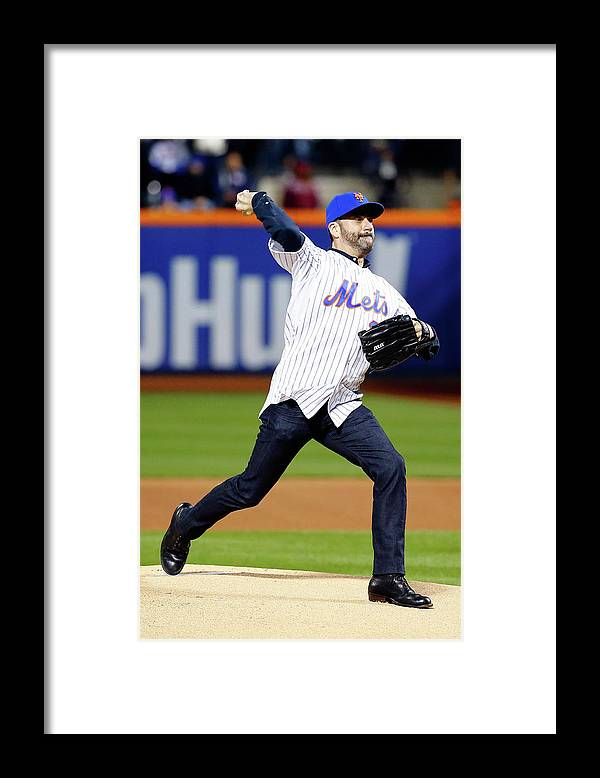 Game Two Framed Print featuring the photograph League Championship - Chicago Cubs V by Al Bello