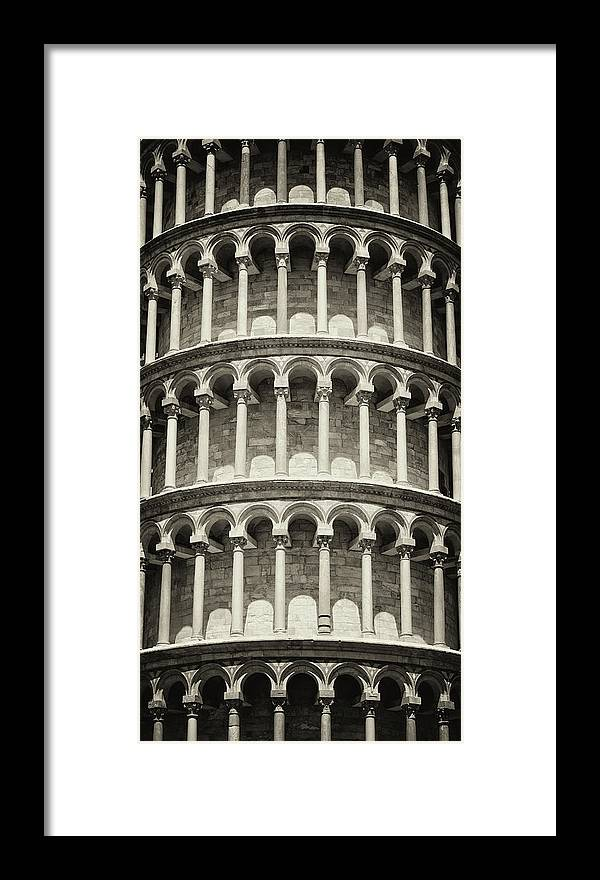 Architectural Column Framed Print featuring the photograph Leaning Tower Of Pisa, Tuscany Italy by Romaoslo
