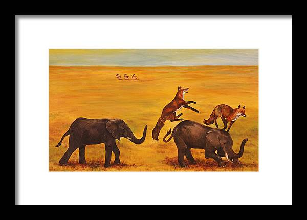 Fox Framed Print featuring the painting Leap Frog by Michelle Miron-Rebbe