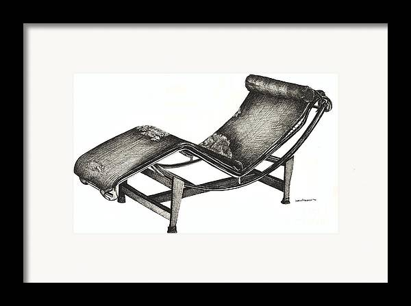 Chaise Longue Framed Print featuring the drawing Leather Chaise Longue by Adendorff Design