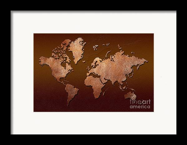 world Map Framed Print featuring the digital art Leather World Map by Zaira Dzhaubaeva