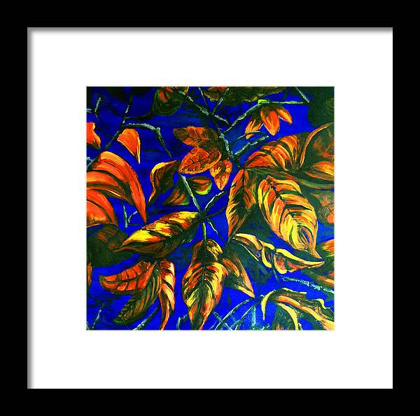 Leaves Framed Print featuring the painting Leaves by Deb Wolf