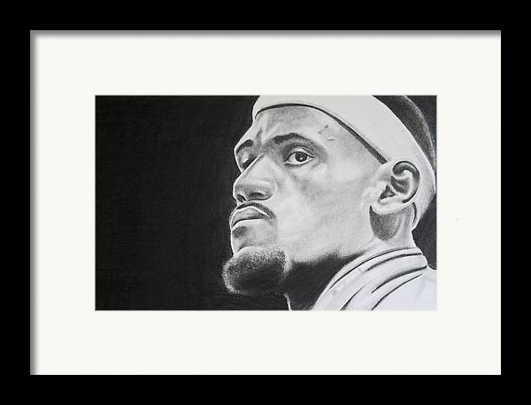 King James Framed Print featuring the drawing Lebron by Don Medina