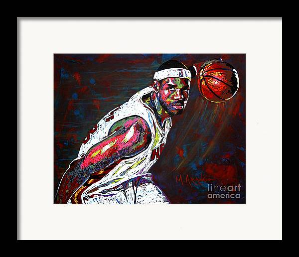 Lebron Framed Print featuring the painting Lebron James 2 by Maria Arango