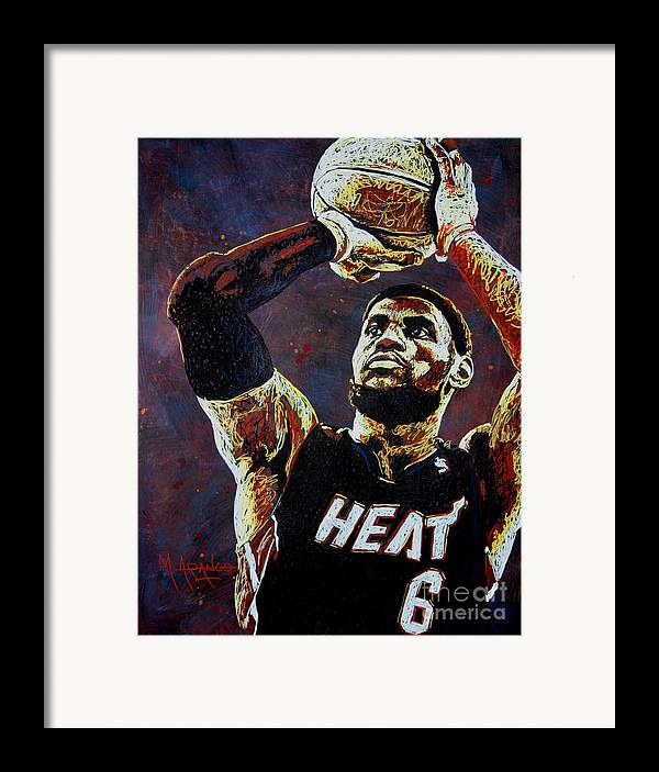 Lebron Framed Print featuring the painting Lebron James Mvp by Maria Arango