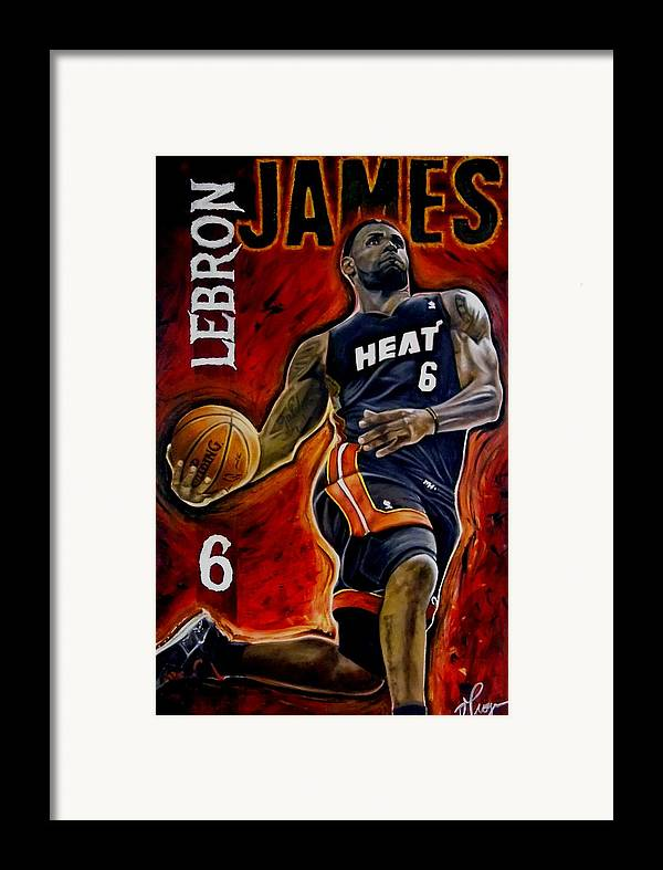 Lebron James Framed Print featuring the painting Lebron James Oil Painting-original by Dan Troyer