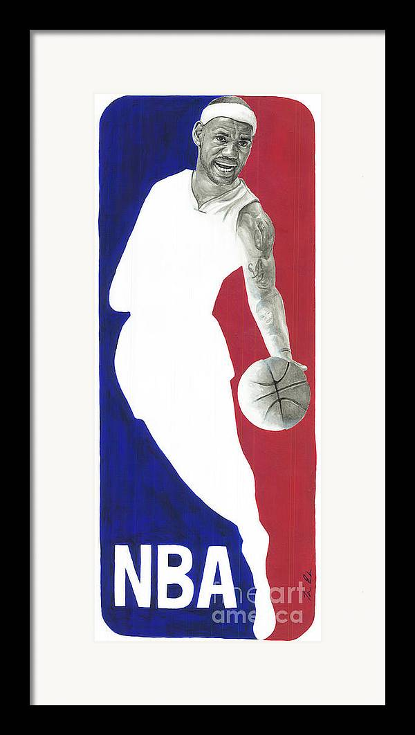 Lebron James Framed Print featuring the painting Lebron Nba Logo by Tamir Barkan