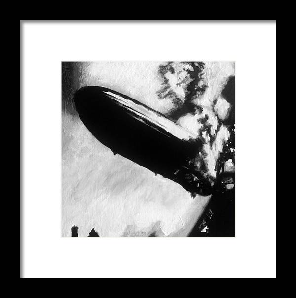 Zeppelin Framed Print featuring the painting Zeppelin Fire by Corbin Runnels