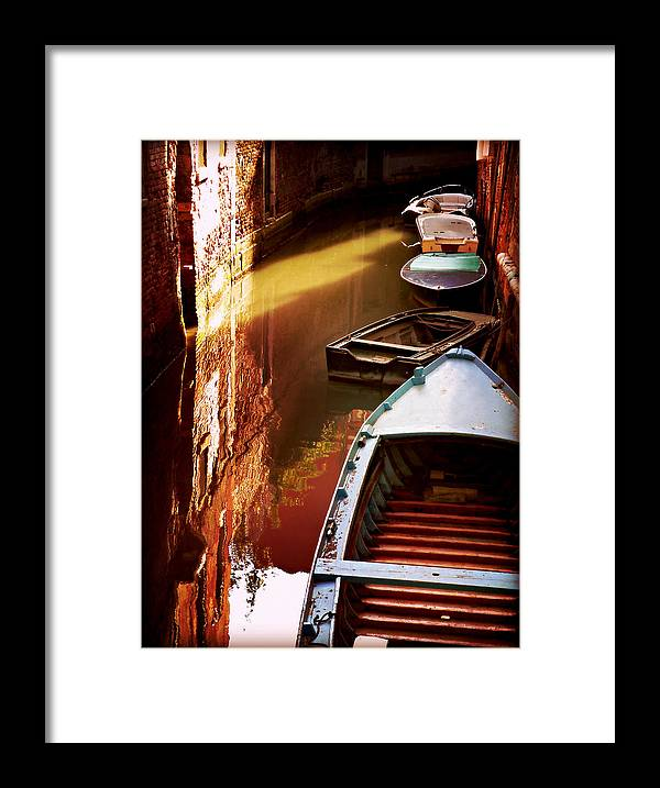 Legata Nel Canale Framed Print featuring the photograph Legata Nel Canale by Micki Findlay