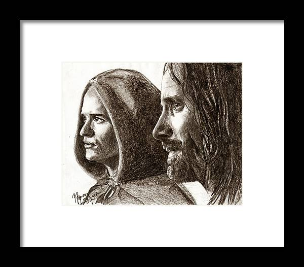 The Lord Of The Rings Framed Print featuring the drawing Legolas And Aragorn by Maren Jeskanen