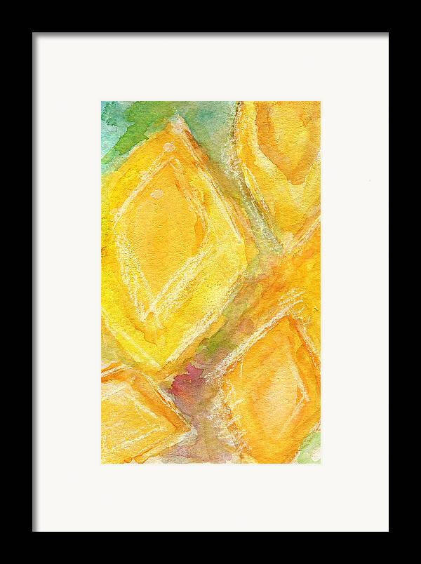Abstract Painting Framed Print featuring the painting Lemon Drops by Linda Woods