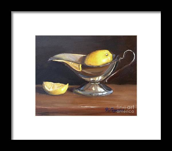 Oil Framed Print featuring the painting Lemon In Saucer by Viktoria K Majestic