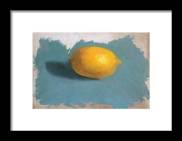 Lemon Framed Print featuring the painting Lemon On Blue Cloth by Sabrina Phillips