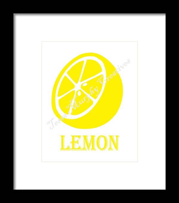 Lemon Framed Print featuring the digital art Lemon by Tessa Murphy
