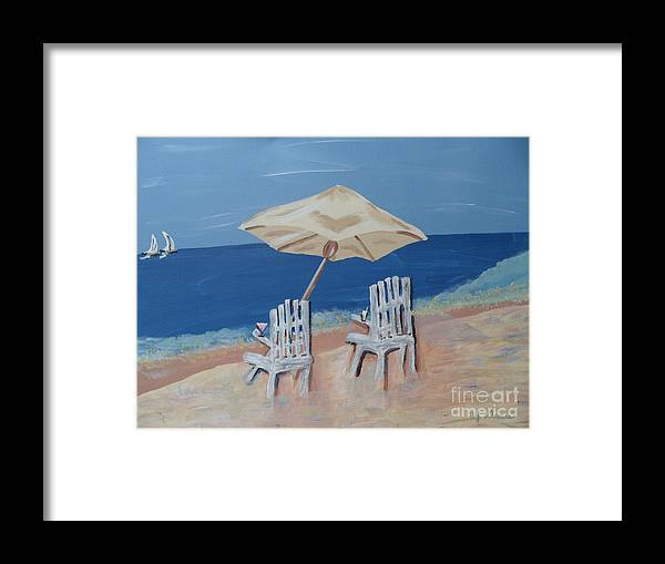 Ocean Framed Print featuring the painting Lemonade By The Ocean 1 by Bobbi Groves