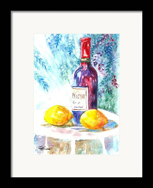 Wine Framed Print featuring the painting Lemons And Wine And A Little Sunshine by Carol Wisniewski