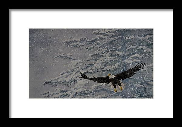 Oiseau Framed Print featuring the painting L'envol De La Pigargue by MICHAUX Michel