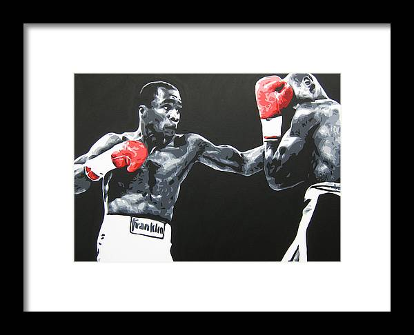 Leonard Framed Print featuring the painting Leonard Vs Hagler by Geo Thomson