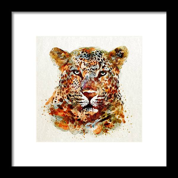 Leopard Framed Print featuring the painting Leopard Head Watercolor by Marian Voicu