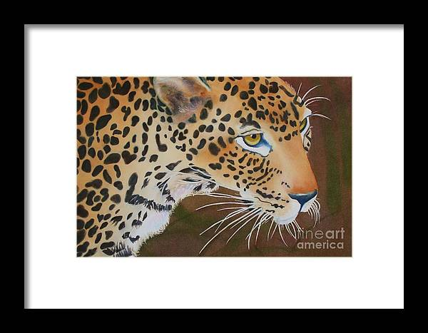 Wildlife Framed Print featuring the painting Leopard In Botswana by Amanda Schuster