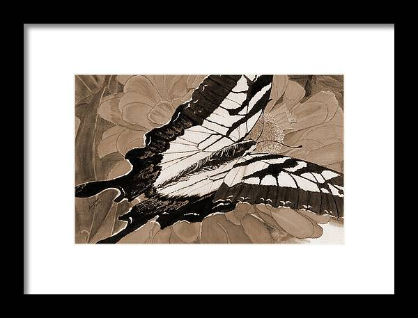 Sepia Tone Butterflies Framed Print featuring the painting Lepidoptery - Sepia by Joel Deutsch