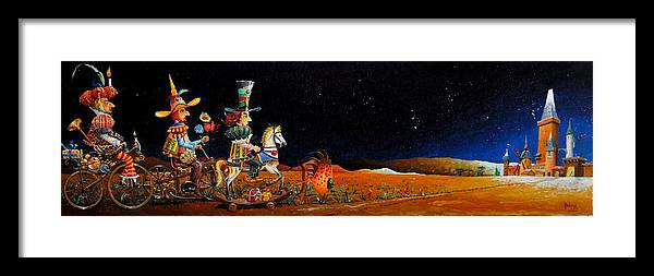 Noel Framed Print featuring the painting Les Visiteurs De Noel by MICHAUX Michel