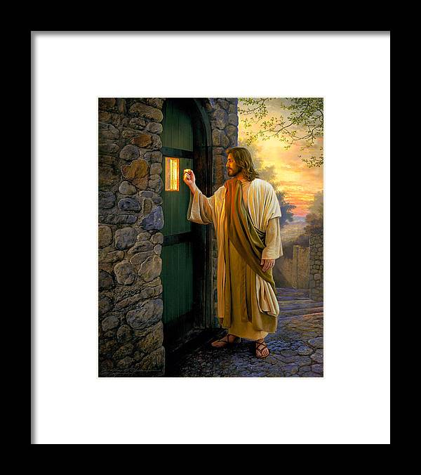 Jesus Framed Print featuring the painting Let Him In by Greg Olsen