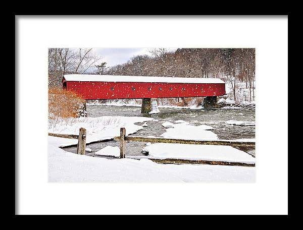 Snowstorm Framed Print featuring the photograph Connecticut Covered Bridge Snow Scene By Thomasschoeller.photography by Expressive Landscapes Fine Art Photography by Thom