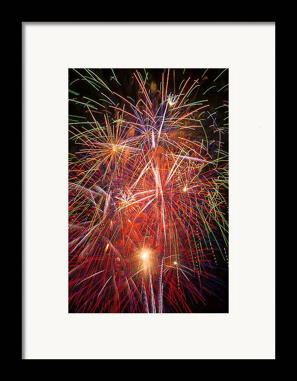 Fawesome Fireworks Lights Up The Darkness Framed Print featuring the photograph Let Us Celebrate by Garry Gay