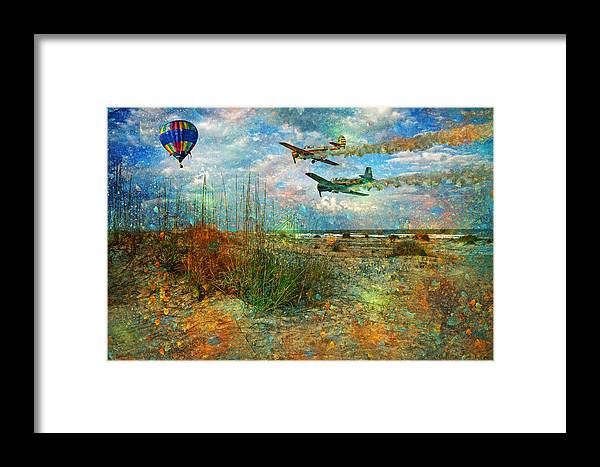 Beach Framed Print featuring the digital art Let's Fly by Betsy Knapp