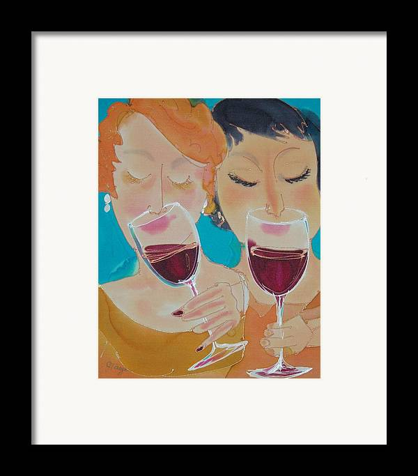 Wine Framed Print featuring the painting Let's Get Together by Jill Targer