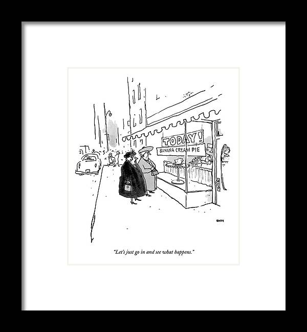 10/20 Framed Print featuring the drawing Let's Just Go In And See What Happens by George Booth