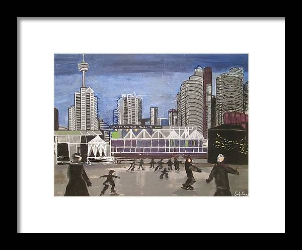 Ice Skating Framed Print featuring the painting Let's Skate At Habourfront Centre by Jennylynd James