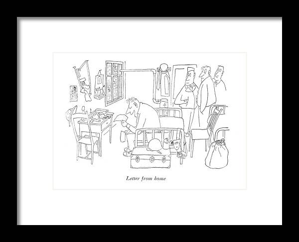 Letter From Home Framed Print by Saul Steinberg