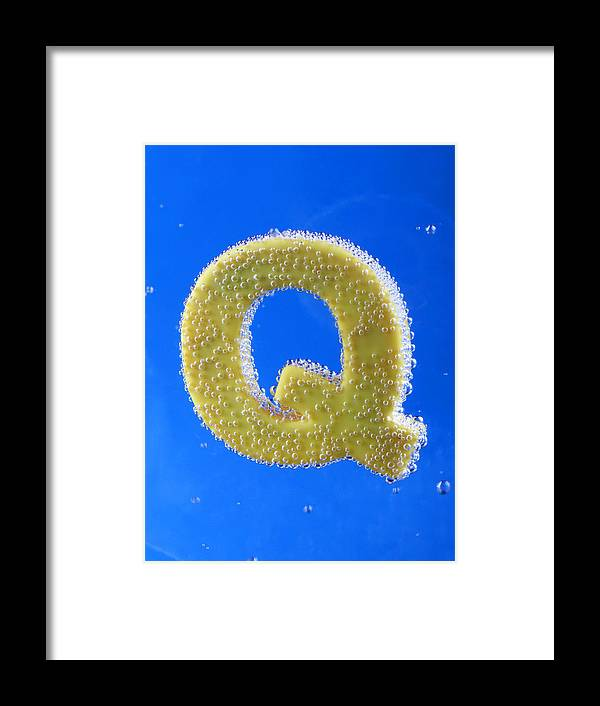 Bubble Font Letter Type Print Great-primer Typeface Character Bleb Air-bladder Bulb Water Liquid Fluid Scantiness Blue Azure Cyan Photograph Photo Photography Chromophotography Color Q Framed Print featuring the photograph letter Q underwater with bubbles by Dmitriy Lokash