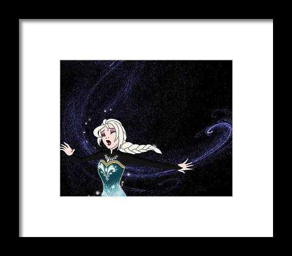 Frozen Framed Print featuring the digital art Letting Go by Jessica-Faye Watters
