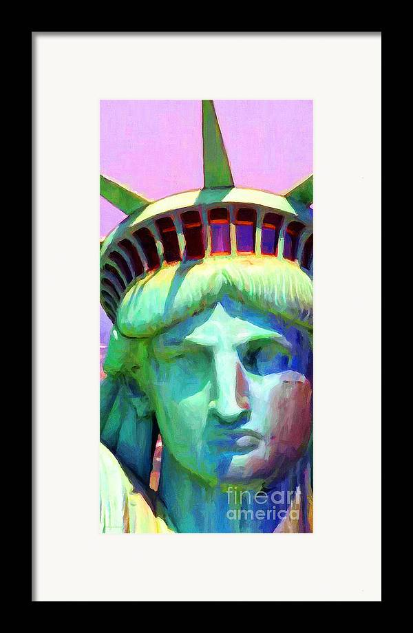 Patriotic Framed Print featuring the photograph Liberty Head Painterly 20130618 Long by Wingsdomain Art and Photography