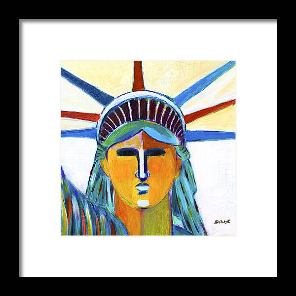 Nyc Framed Print featuring the painting Liberty In Colors by Habib Ayat