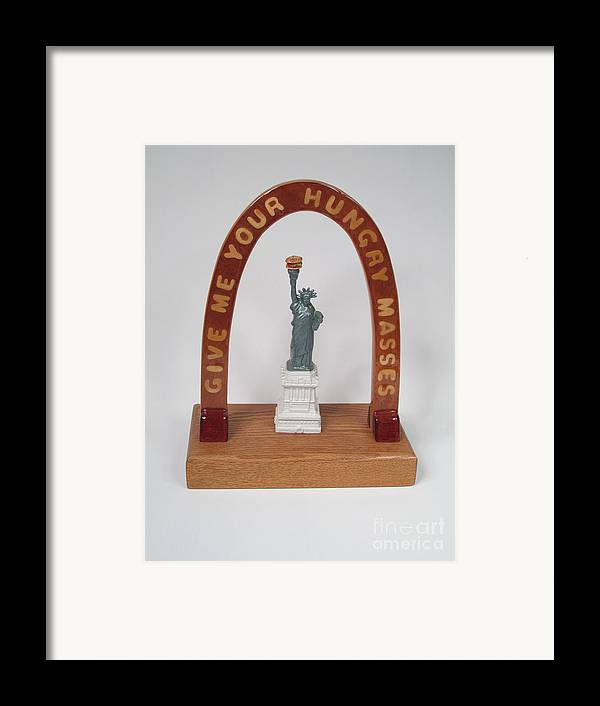 Wood Framed Print featuring the sculpture Liberty With Burger Hold The Frys #98 by Bill Czappa