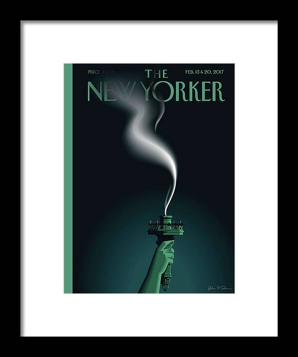 Statue Of Liberty Framed Print featuring the painting Liberty's Flameout by John W Tomac