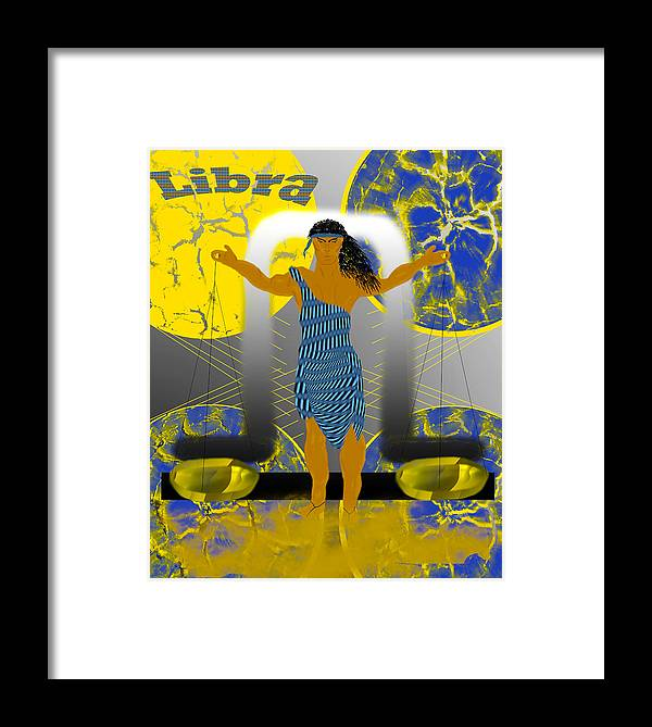 Libra Framed Print featuring the digital art Libra by Camille Lopez