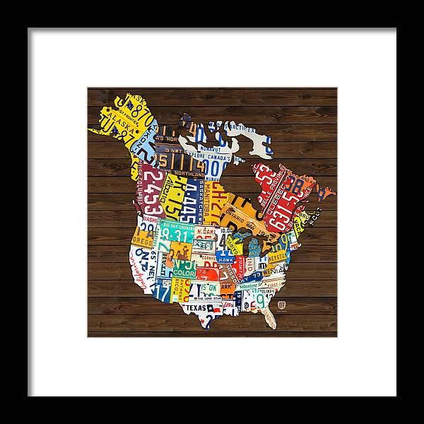 License Plate Map Of North America Canada And United States Framed