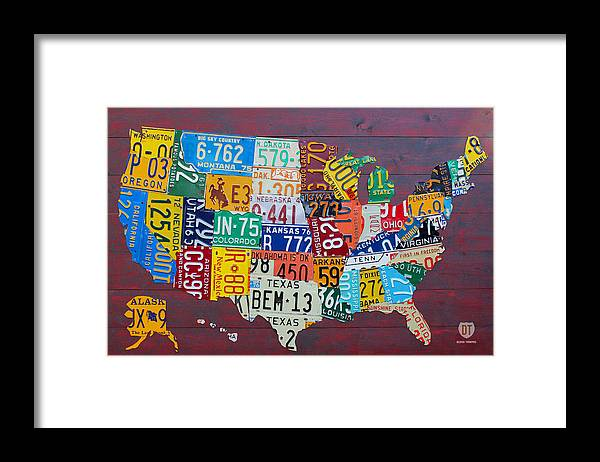Art Framed Print featuring the mixed media License Plate Map of The United States by Design Turnpike
