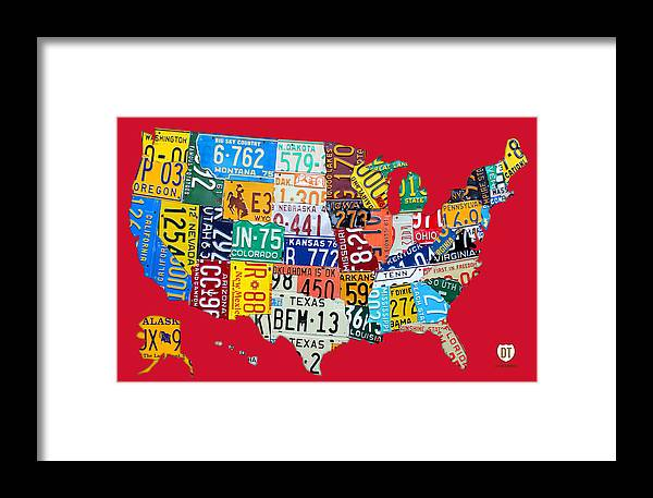 License Plate Map Of The United States On Bright Red Framed Print by on