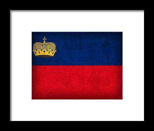 Liechtenstein Framed Print featuring the mixed media Liechtenstein Flag Vintage Distressed Finish by Design Turnpike